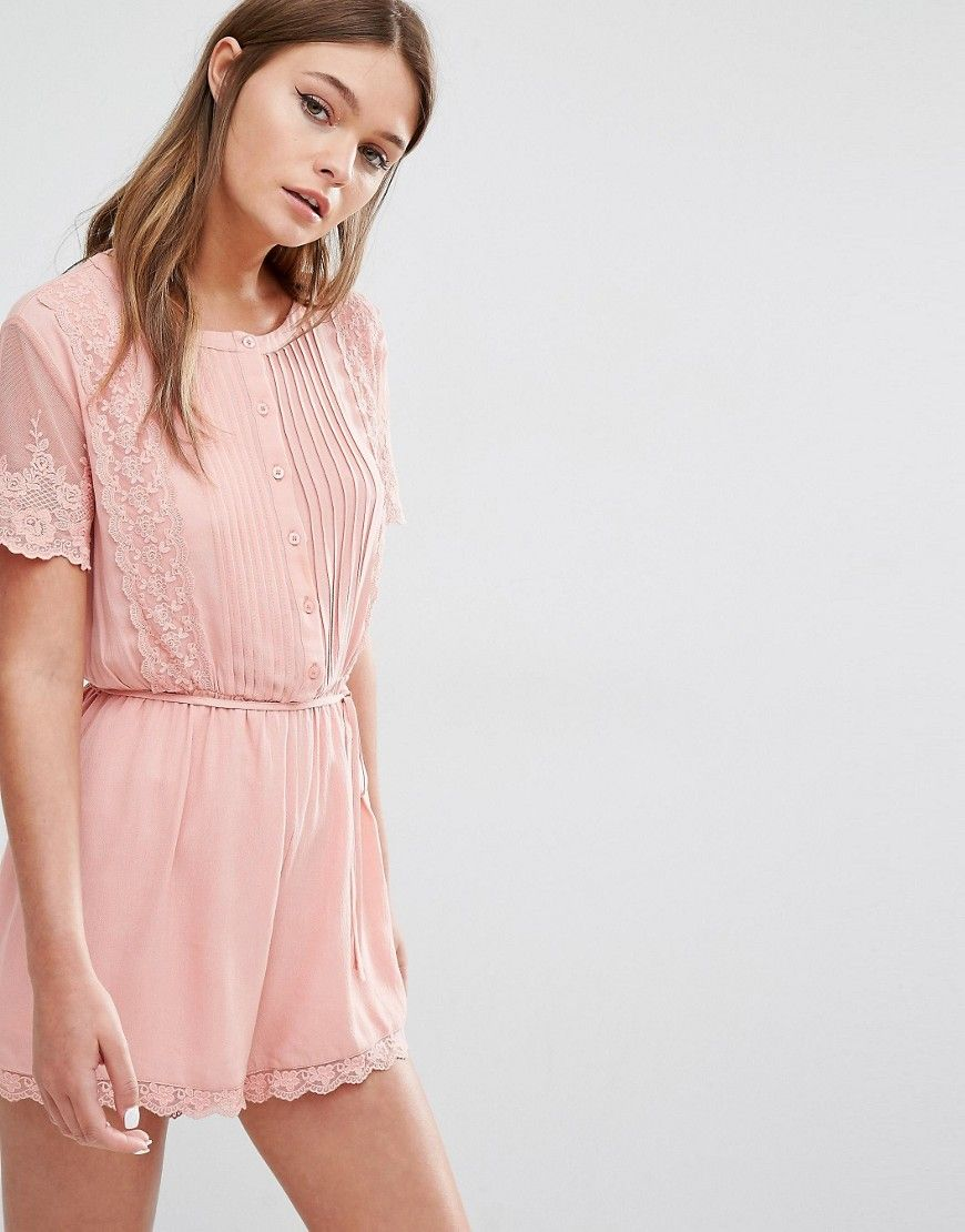 Image 1 ofFashion Union Pretty Playsuit with Scallop Lace