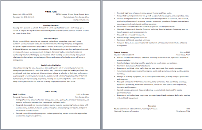 Bank Manager Resumes. branch manager sample resume templates and ...