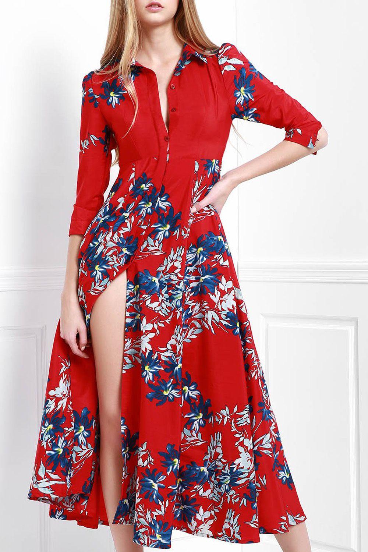 df0398ea Maxi Button Up Floral Shirt Dress | Maxi Dresses & Skirts | Maxi ...