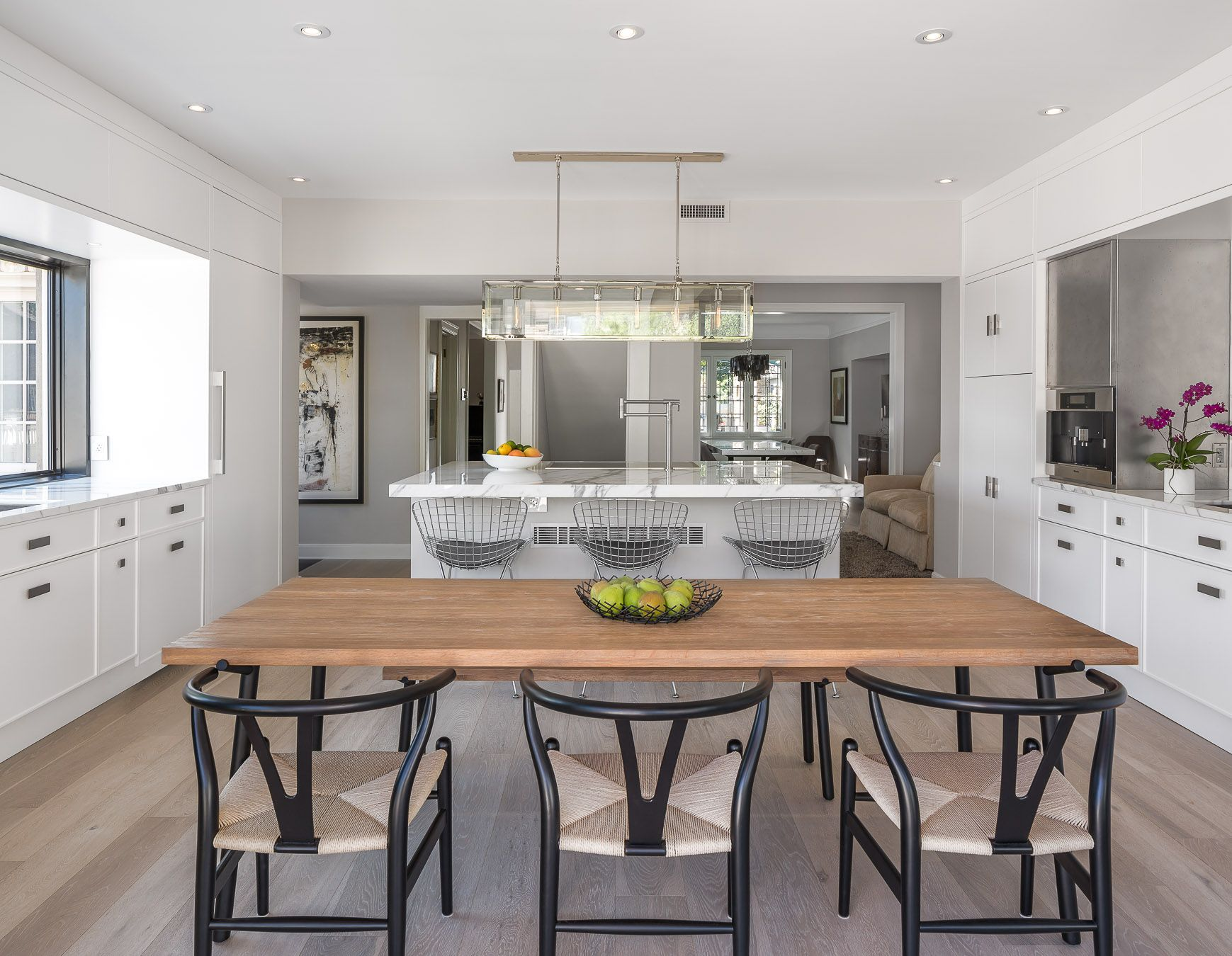 A white-washed & caluctta marble kitchen design in Ottawa, Canada ...