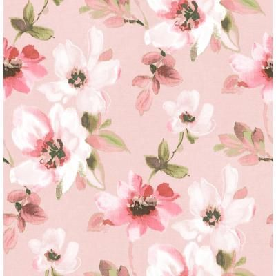 Brewster Reign Pink Bouquet Sample Pink Wallpaper Sample-HN002659SAM - The Home Depot