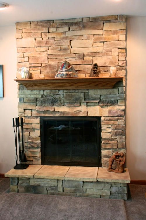 Mountain Stack Stone Fireplace Needs A More Rustic Mantel Not