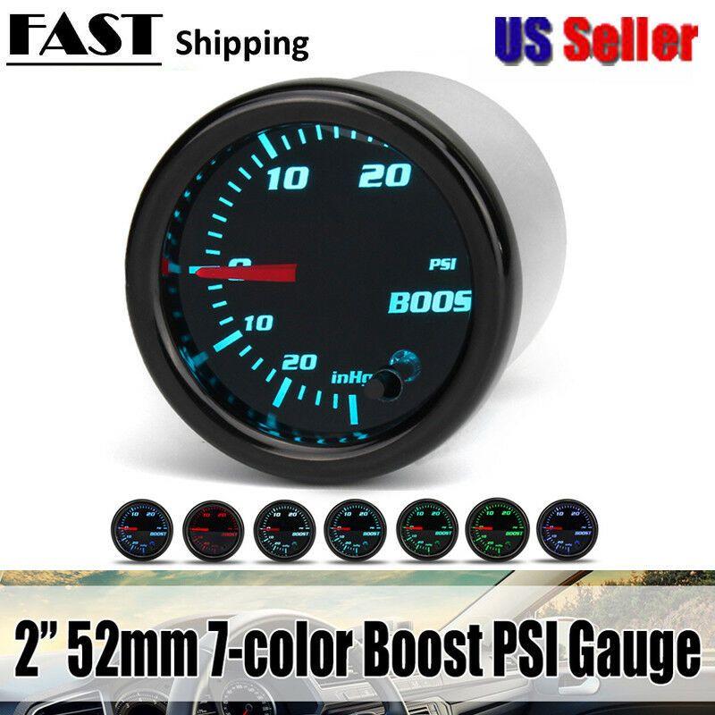 Sponsored Ebay 2 52mm 7 Color Led Car Turbo Boost 30psi
