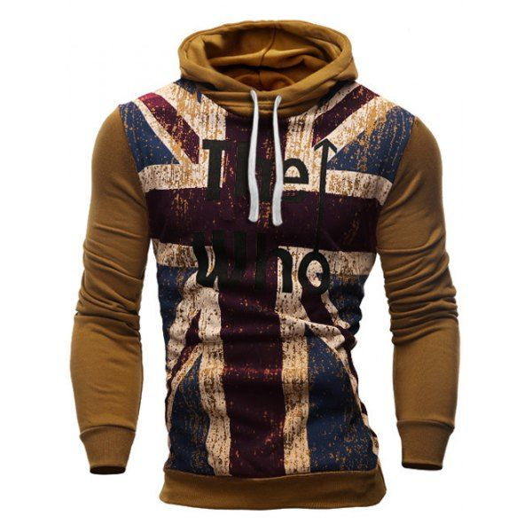 Slimming Hooded Union Jack Letters Print Color Rib Spliced Men\'s ...