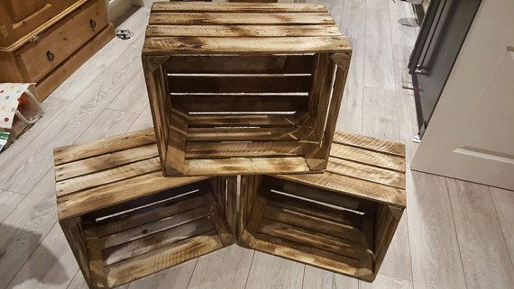 1 X Burntwood Vintage Rustic European Wooden Apple Crates Ideal Storage Boxes Box Display Crate Bookshelf Idea Wooden Apple Crates Vintage Wooden Crates Wood Crates