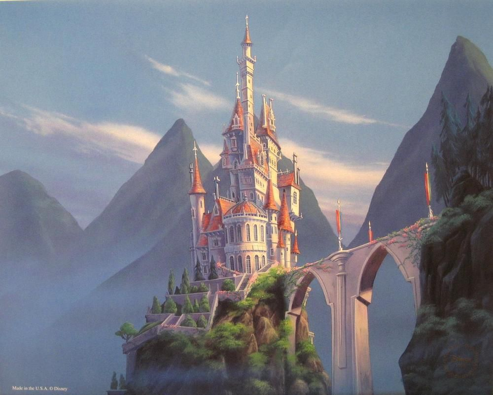 DISNEY BEAUTY AND THE BEAST ENCHANTED PLACES LITHOGRAPH ... Beauty And The Beast Castle