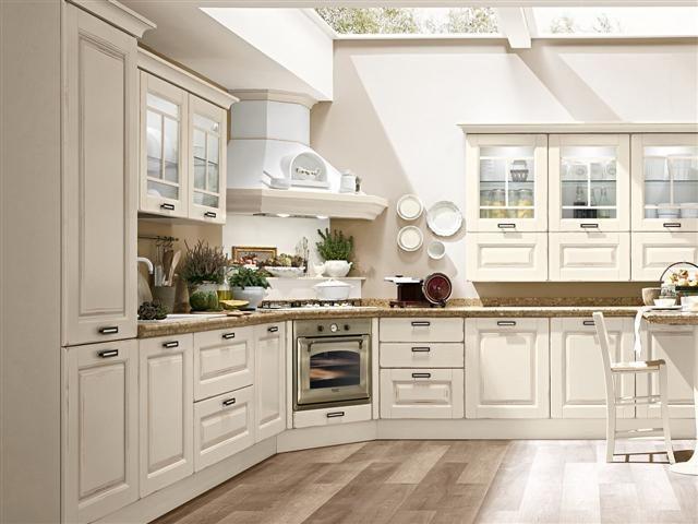 cucina lube modello laura in legno laccato bianco vintage piani top in marmo completa