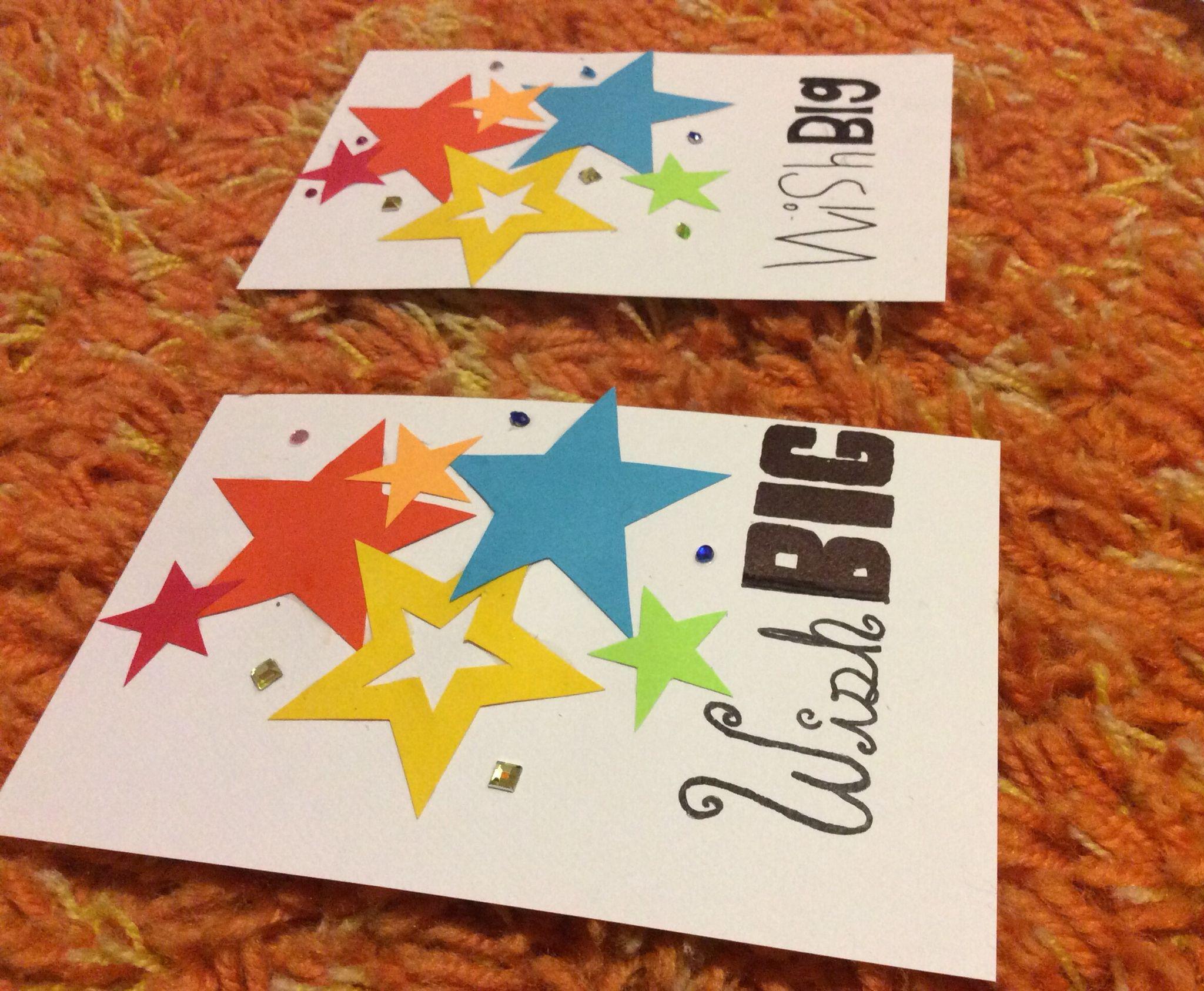 Wish big, bright colored star and a few rhinestone cards.
