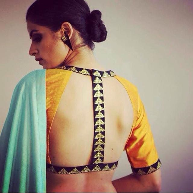 Stunning Yellow Open Back #Blouse Design.