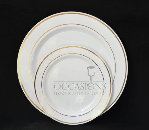 Bulk Disposable Plastic Plates - Masterpiece Style- White with Gold rim. 9u0027u0027 luncheon/dinner plate set of 10 $9.80 & Bulk Disposable Plastic Plates - Masterpiece Style- White with Gold ...