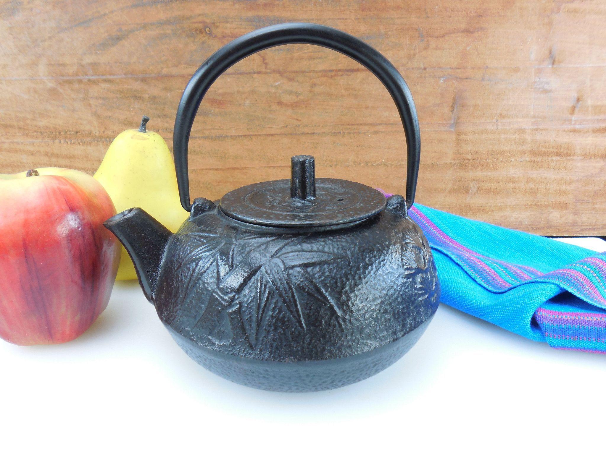 japanese cast iron small teapot 2 cup porcelain enamel interior