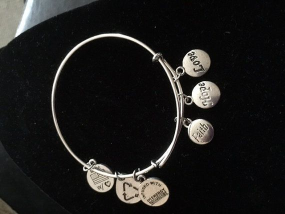 Alex And Ani Inspired Bangle Bracelet Faith Hope Love Silver Stainless Steel