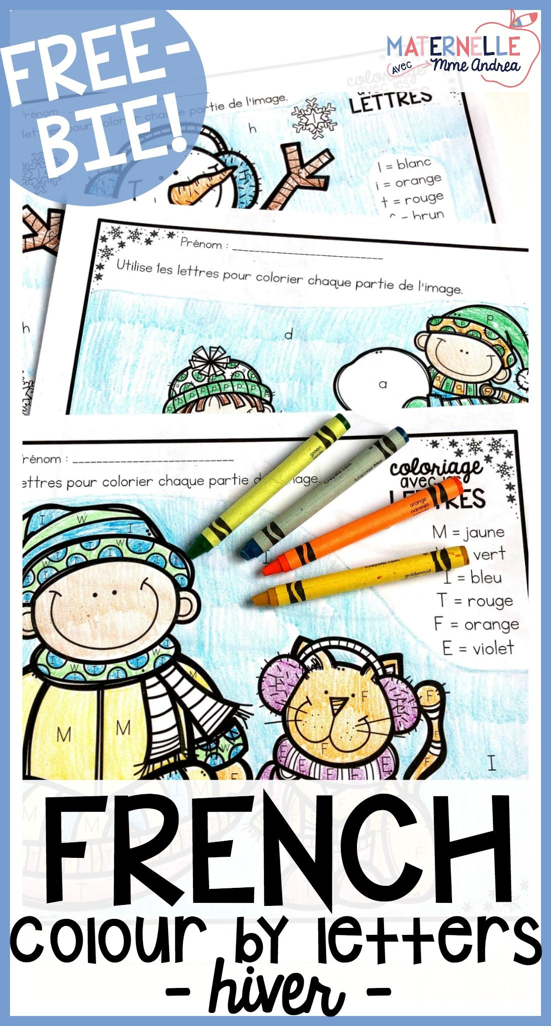 Gratuit Free French Winter Colour By Letter Worksheets