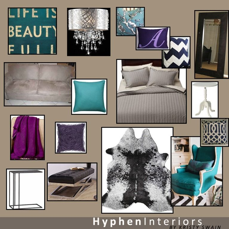 Master bedroom color palette royal purple teal gray Navy purple color
