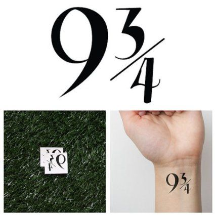 Platform 9 And 3 4 Harry Potter Temporary Tattoo Set Of 2 4 Tattoo Idee Images