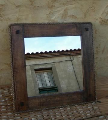 Marco de espejo rustico mueble mueble madera espejo cristal cuerda pita a mano espejos pinterest - Muebles de madera rusticos ...