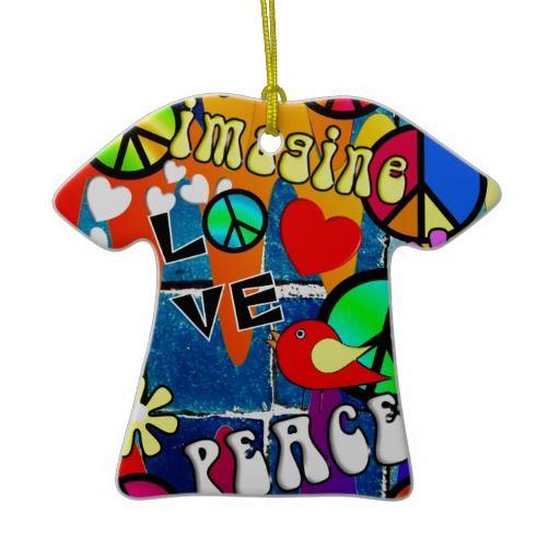 Imagine Retro Peace Symbols Ceramic Ornament Shirts Christmas