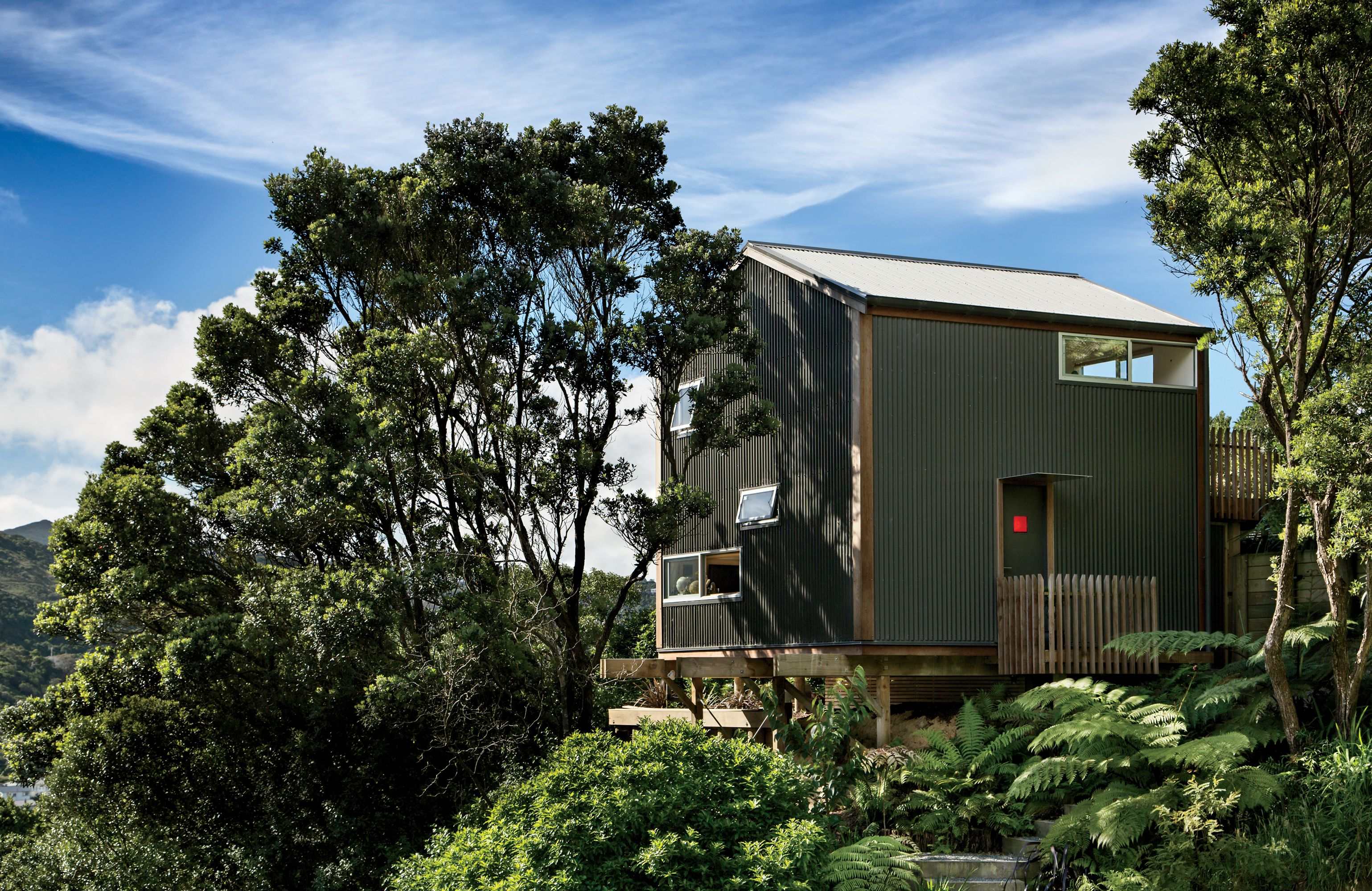 Modern small space in New Zealand with corrugate metal cladding ...