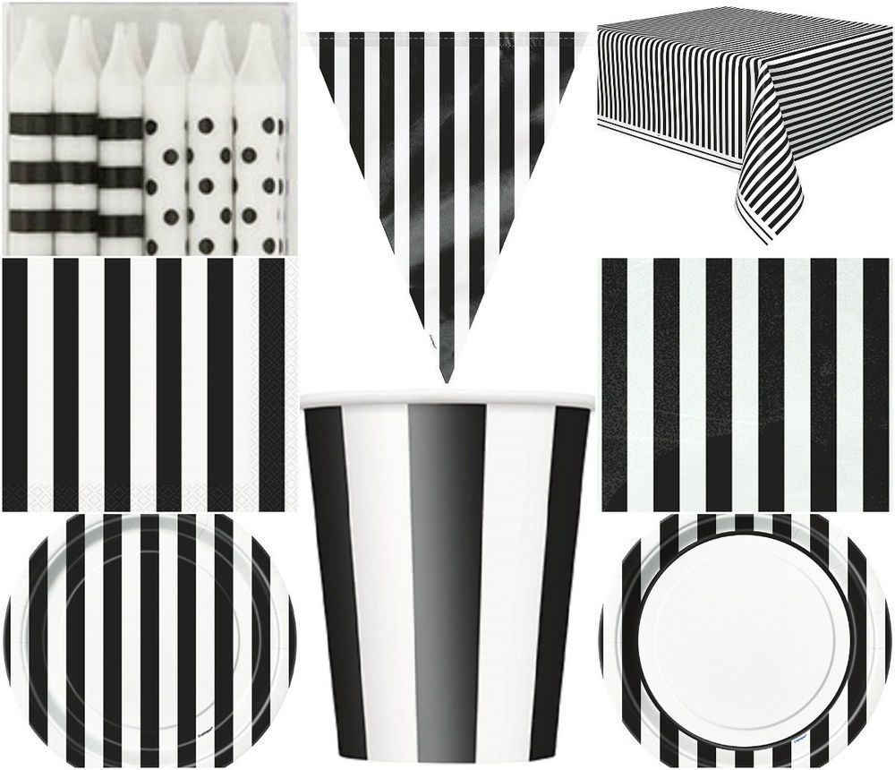 Black and white stripe charger plates - Black White Stripes Paper Birthday Party Tableware Stripey Cups Plates Banner