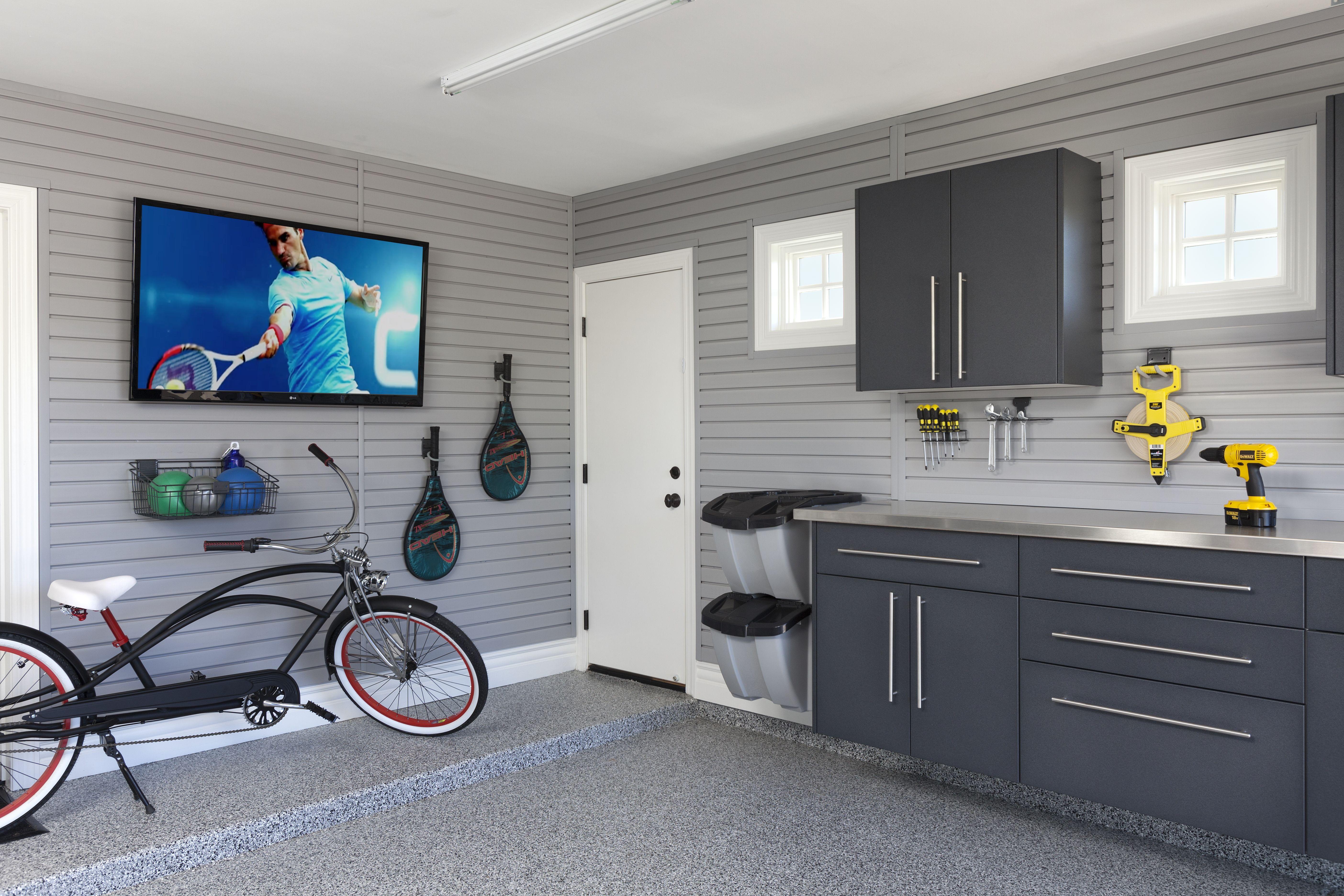 Man Cave Garage Storagebydesign Ca Slat Wall Slatwall Garage Garage Cabinets
