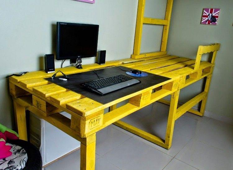 Schreibtisch Selber Bauen Paletten Gelb Lackiert Computer