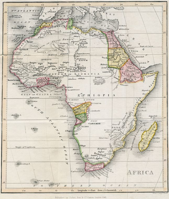 Map of Africa From New York Public Library Digital Collections - new world map of africa