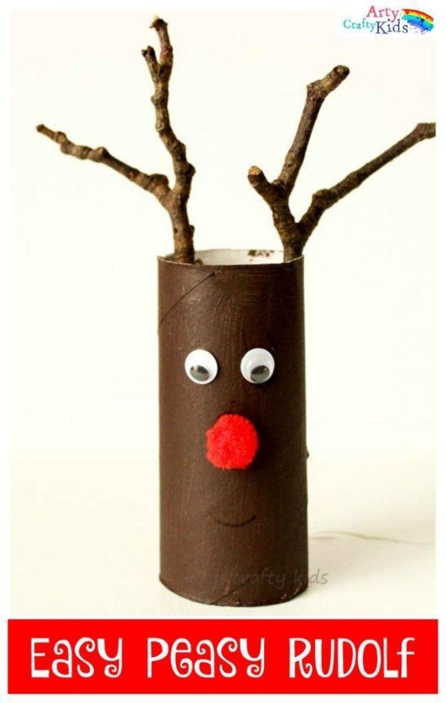 Rudolph Christmas Craft - Easy Roll #rendierknutselen