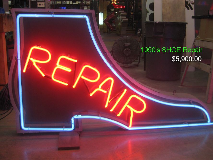 Vintage 1950 S Shoe Repair Double Sided Neon Sign Antique