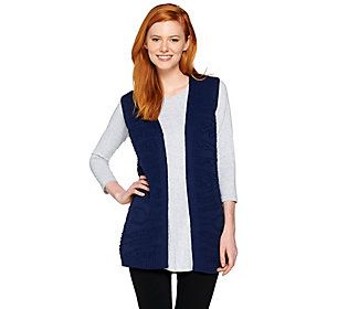 Lisa Rinna Collection Jacquard Sweater Duster Vest