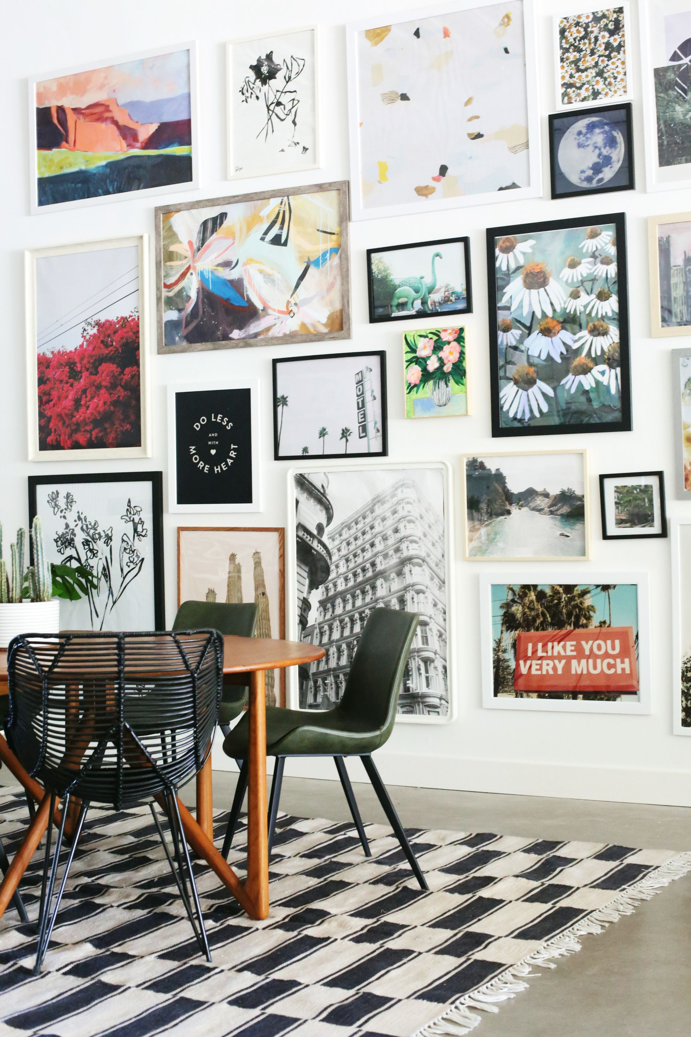 Love This Huge Gallery Wall Colorful And Mix Of Art Art