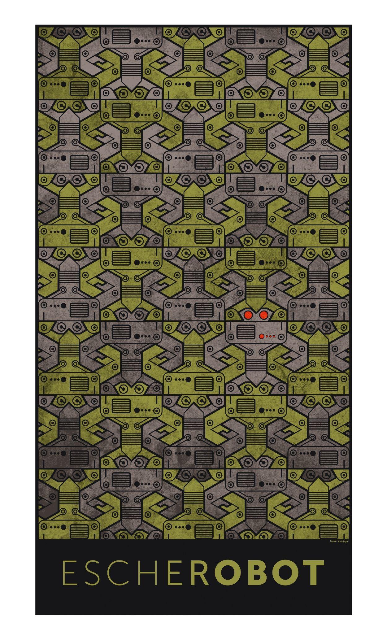 Escherrobot: Eine Hommage an M. C. Escher. Aus Escher und Roboter wird Escherrobot. Eine regelmäßige Flächenaufteilung entsteht durch die Wiederholung eines Elements, des Roboters. Mehr dazu unter www.vismath.eu/bild/904-escherrobot.