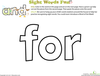 Spruce Up the Sight Word: For | Kid, The o'jays and Words