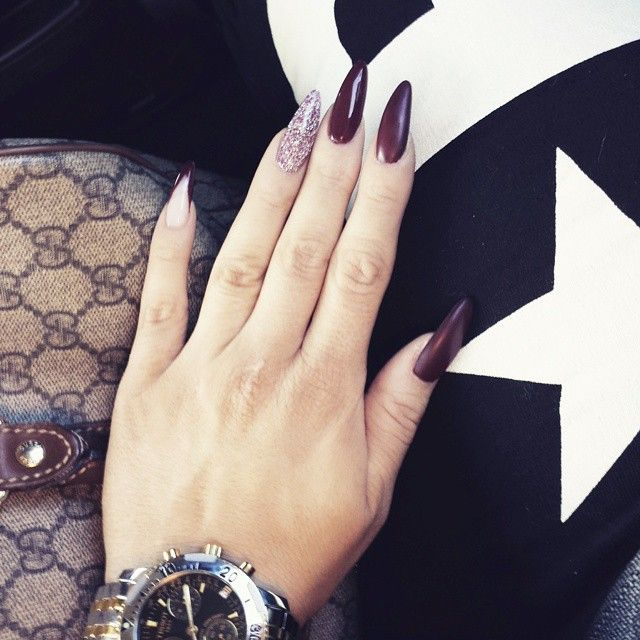 Wanna see more? Long dark violet nails with glitter Then follow me ...