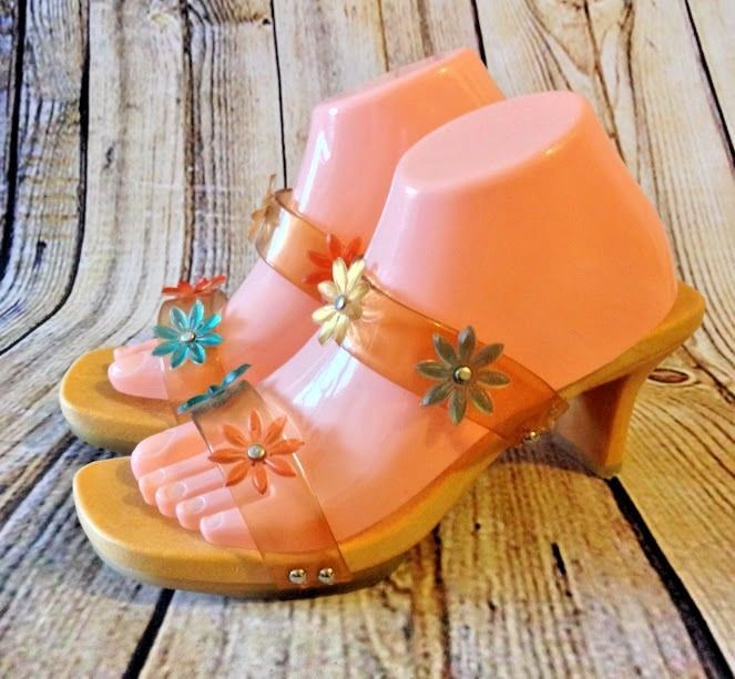 6d51cb98cf1567 VTG CHINESE LAUNDRY Flower Jelly Sandal Heels Sz 10   41 Hippie Boho Made  Italy  ChineseLaundry  Strappy  Casual