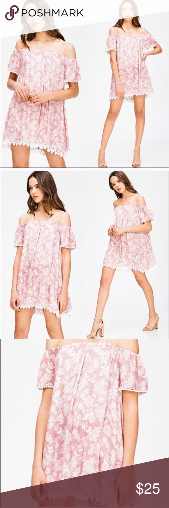 c2cfbe3b1e28 Mind Code pink and white floral off shoulder dress Mind Code pink and white  floral off