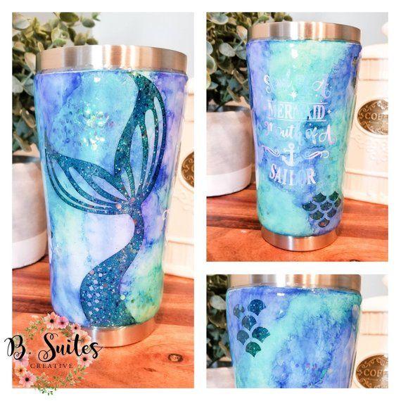 5b369c6a10c Mermaid Glitter Tumbler|| Mermaid Tumbler|| Watercolor Tumbler|| Mouth of a  Sailor Tumbler|| Heart of a Mermaid Tumbler|| Gifts