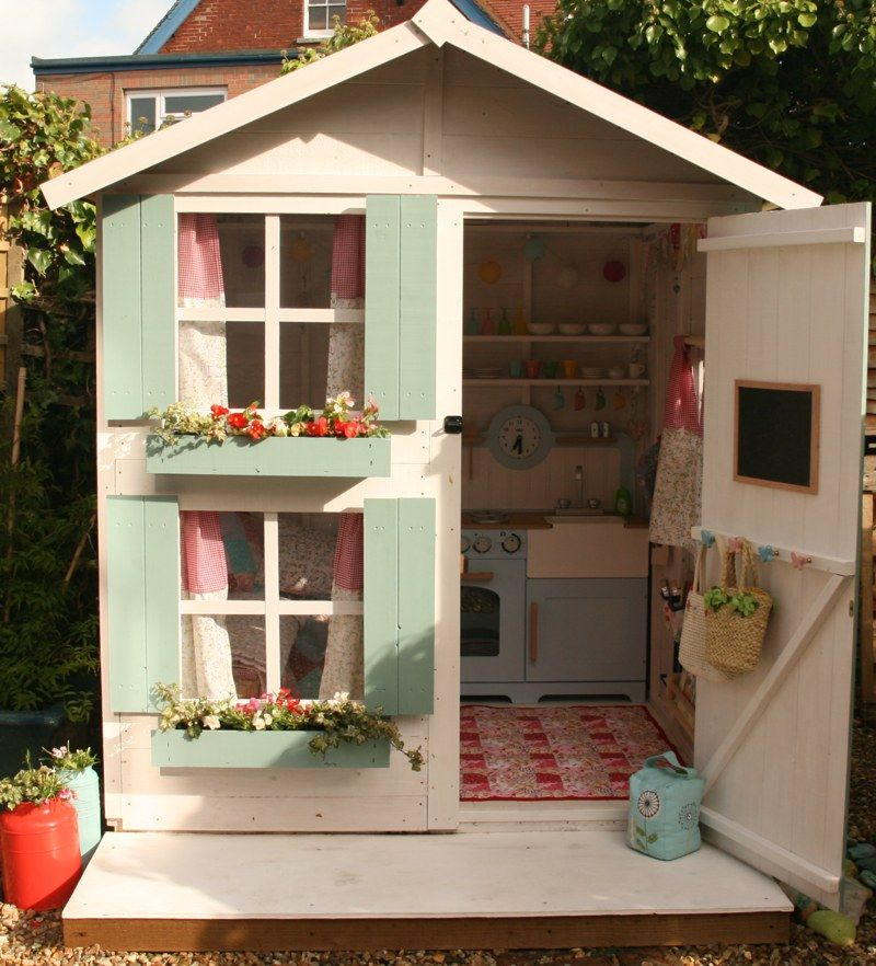 Playhouse exterior like the hooks on the back of the door for Wooden wendy house ideas