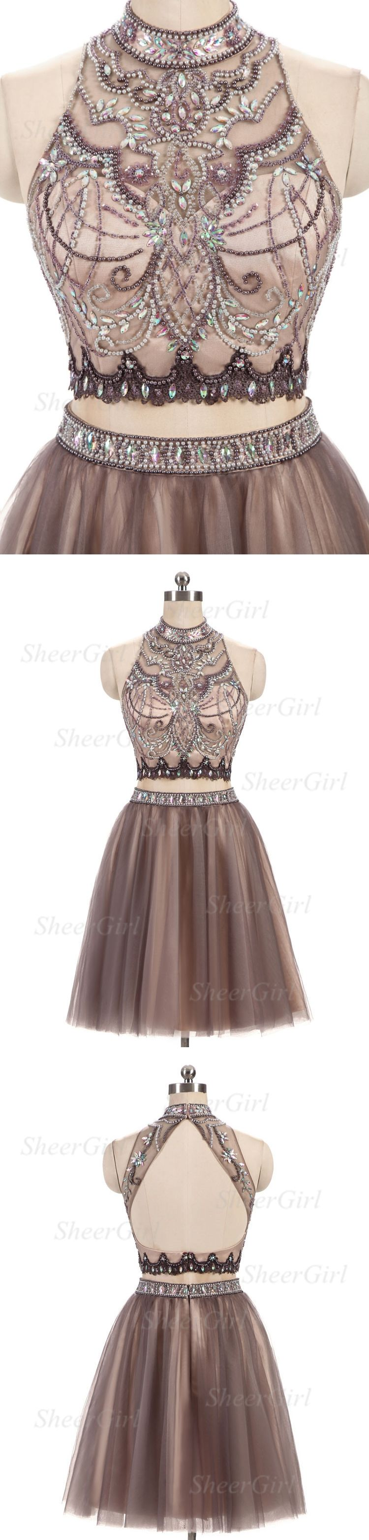 New arrival aline halter tulle with beaded two piece homecoming