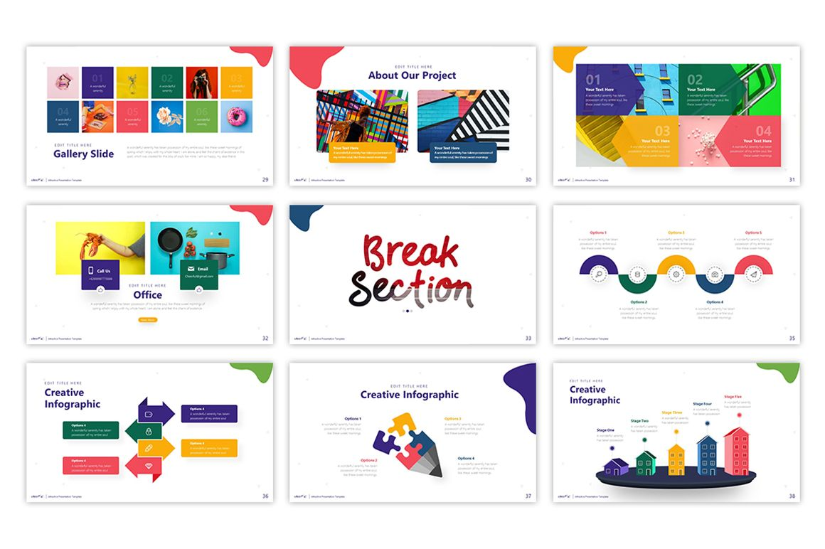 Cheerful Attractive Powerpoint Template 75495 Creative