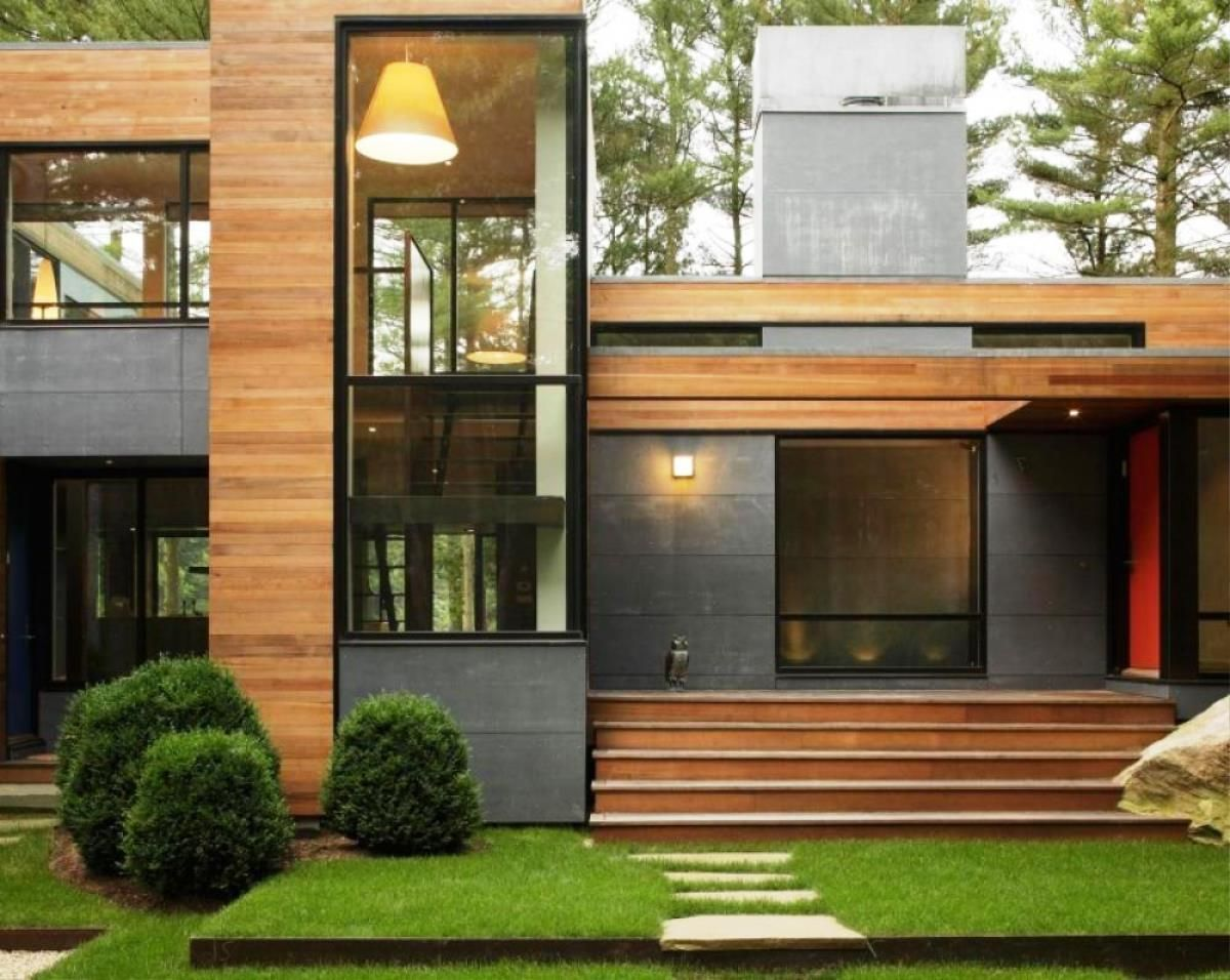 Modern wood house buscar con google casas de madera for Contemporary house exterior