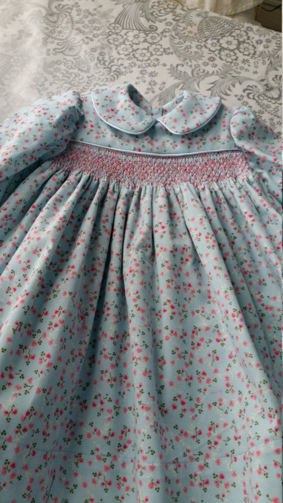 smocked hand made baby dress size 1 year by jeanetteodonnell