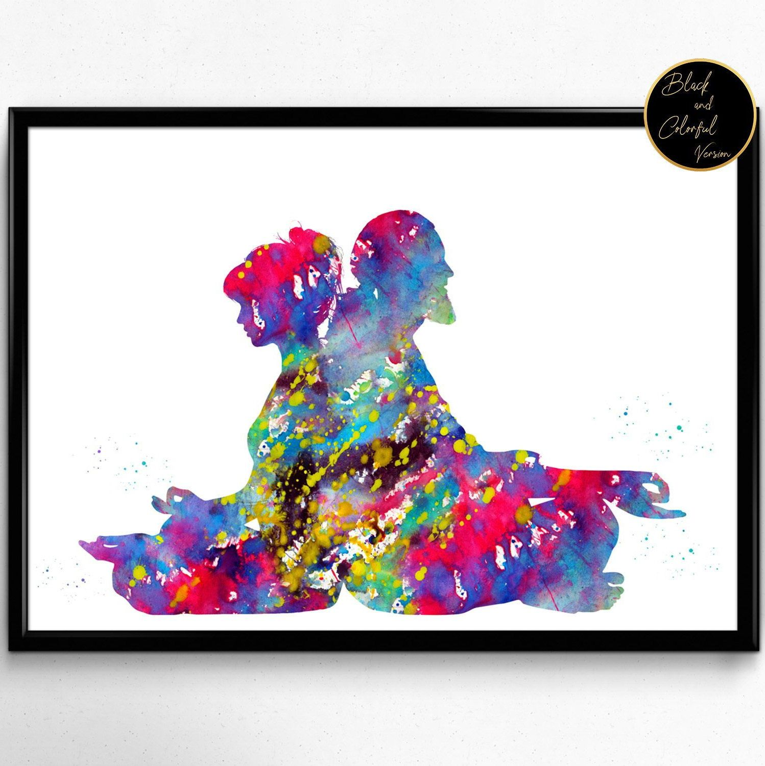 Couple Meditation Watercolor Poster Room Decor Gift Print