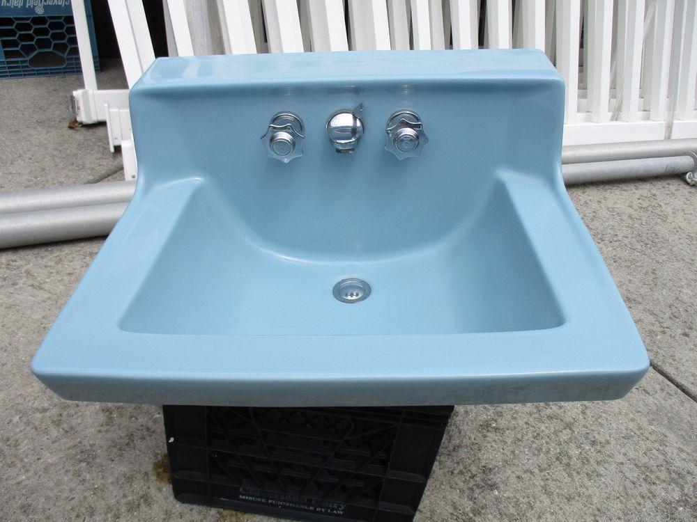Vintage american standard blue porcelain sink w/ wall mount bracket ...