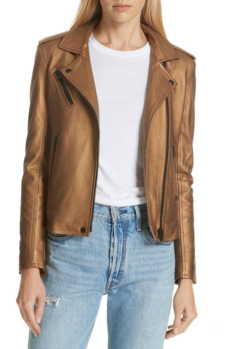 Iro New Han Metallic Leather Jacket Nordstrom Leather Jackets Online Leather Jacket Coats Jackets Women [ 1196 x 780 Pixel ]