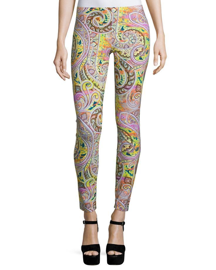 Airbrush Paisley-Print Leggings, Pink/Yellow, Women's, Size: 40/6 - Etro