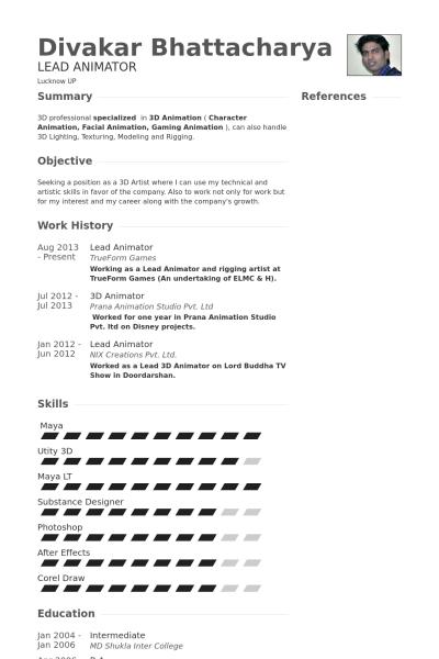 Resume Format 3d Animator Resume Format Sample Resume Format Education Resume