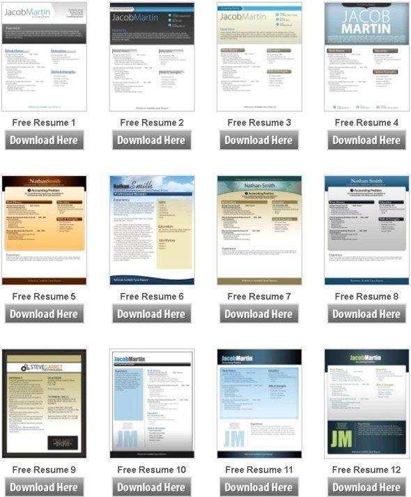 microsoft resume templates free download