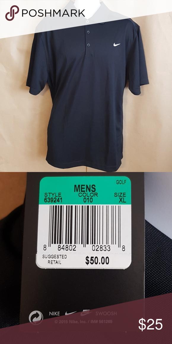 Men's Nike Black Polo shirt size XL   Black polo shirt, Black ...