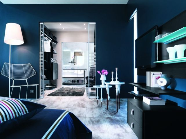 Suite parentale bleu chambres pinterest suite master for Deco suite parentale