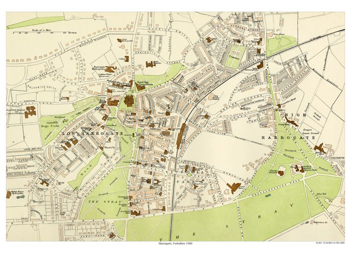 Harrogate 1900 map old maps of Yorkshire Great Britain 2